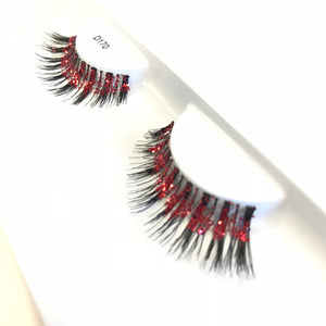 Red glitter fake eyelashes