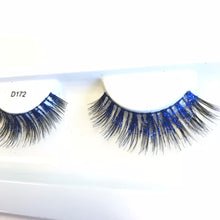 Blue glitter fake eyelashes