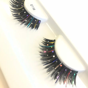 Rainbow disco false lashes