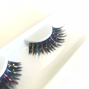 Rainbow glitter false lashes