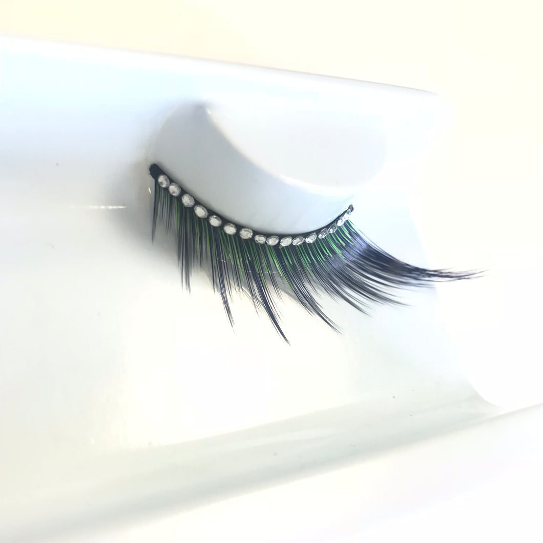 Black & Green Lashes