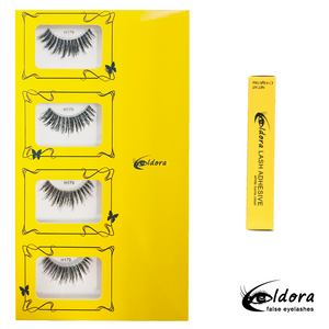 H179 Human Hair False Lashes Multipack with Brush on Adhesive