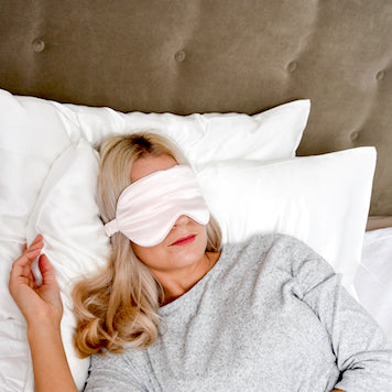 Woman Sleeping with Silk eye mask from Peony Box