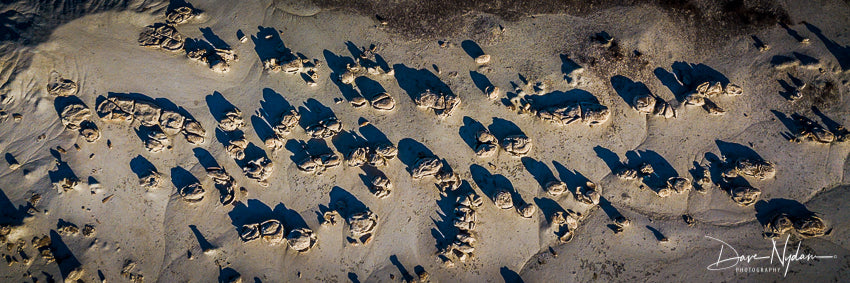 Aerial View of Cracked Eggs of Bisti Badlands