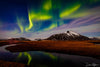Green Northern Lights over Mountain and River Photograph as Fine Art Print