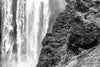 Skogafoss Waterfall and Mountain in Black & White Photograph as Fine Art Print