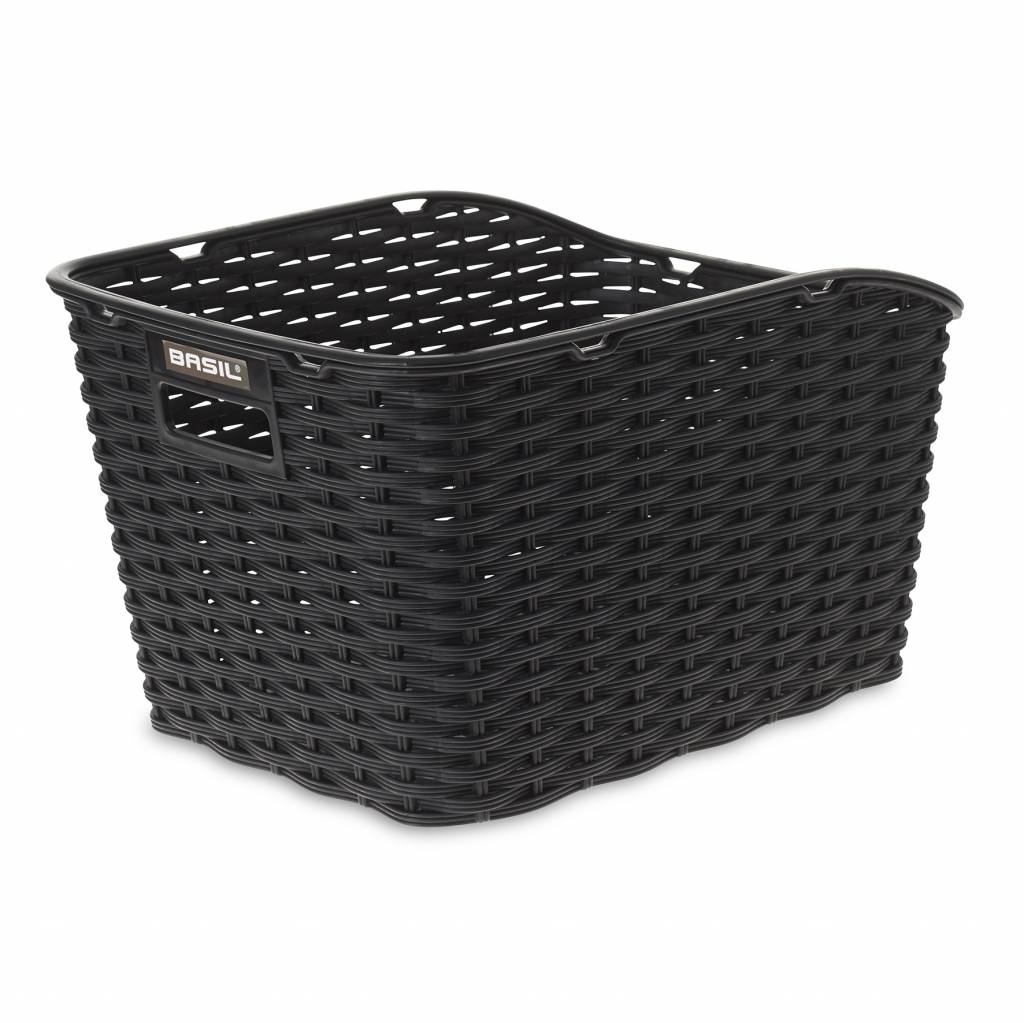 Basil Weave WP Rear Basket - Black