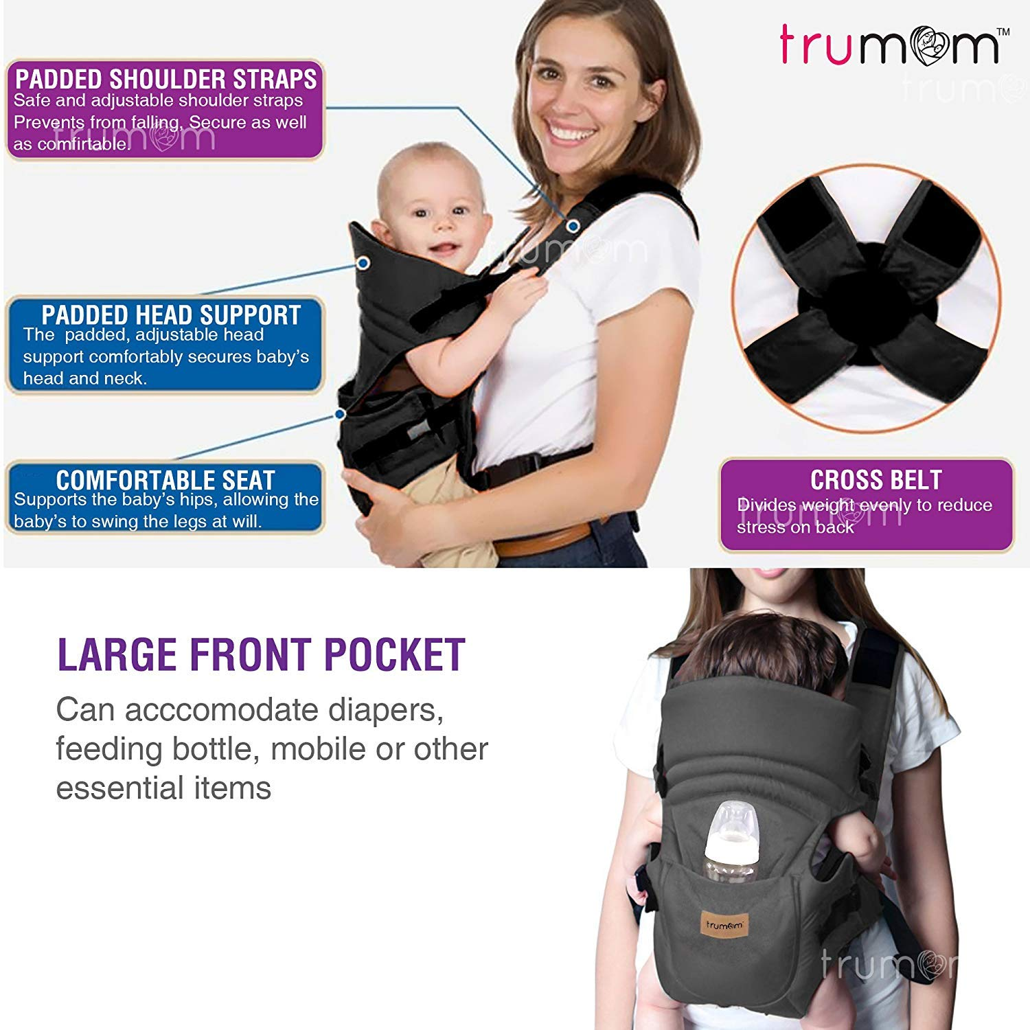 Trumom USA 3 in1 Baby Carrier 2005 for kids 0 to 36 months old (Upto 12 Kg)