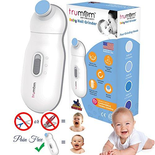Trumom (USA) Baby Nail Clippers for 0-2 Years New born Baby, Electric Nail Trimmer, Safe Nail Cutter and Scissor with 4 Grinder Heads new - trumom