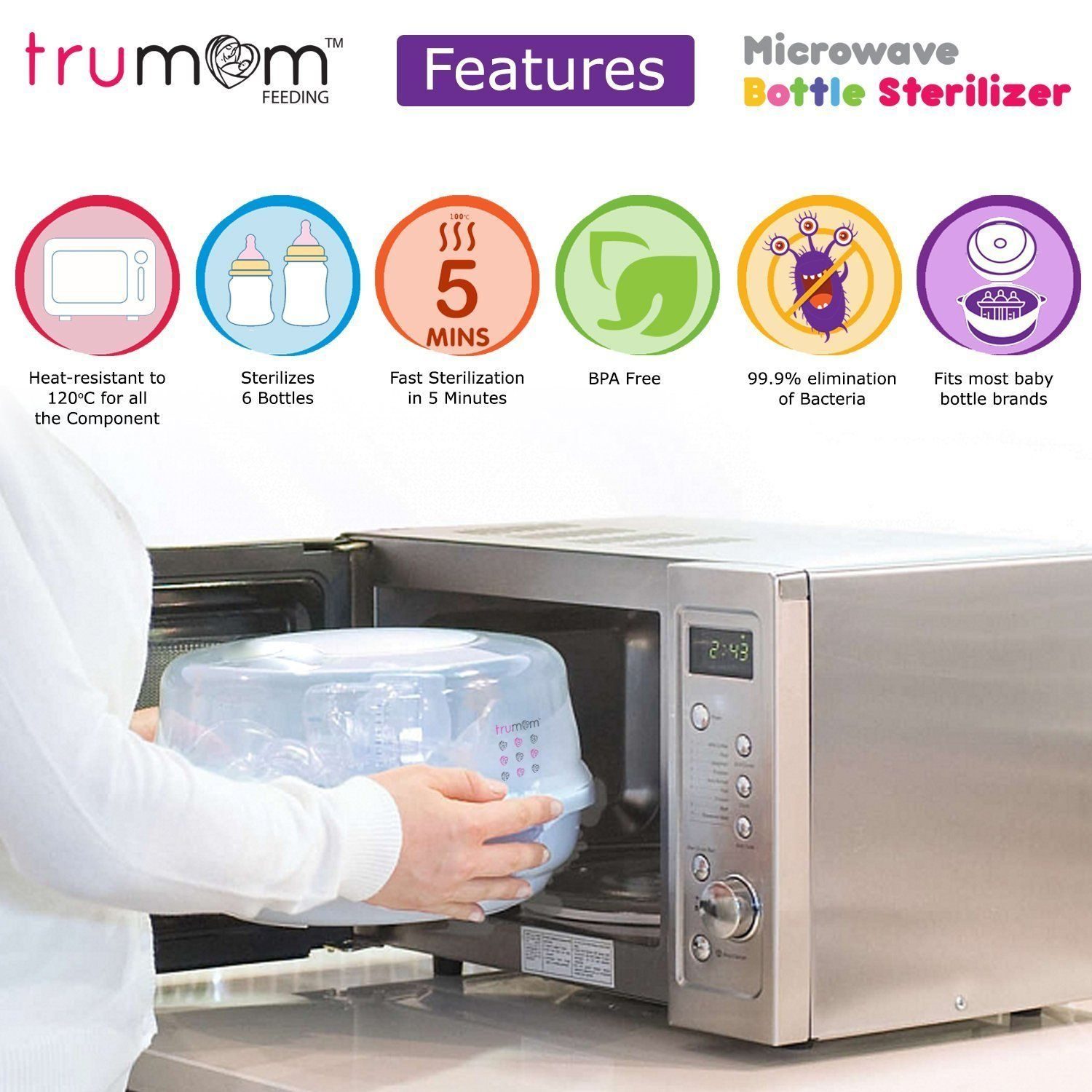 Trumom Steam Safe Microwave Baby Sterilizer For Feeding Bottles - trumom