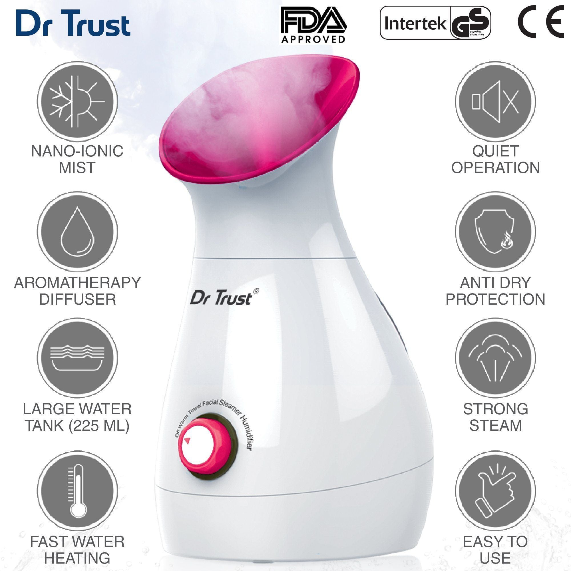 Dr Trust USA 3-in-1 Nano Ionic Facial Steamer Vaporizer (Pink) 905