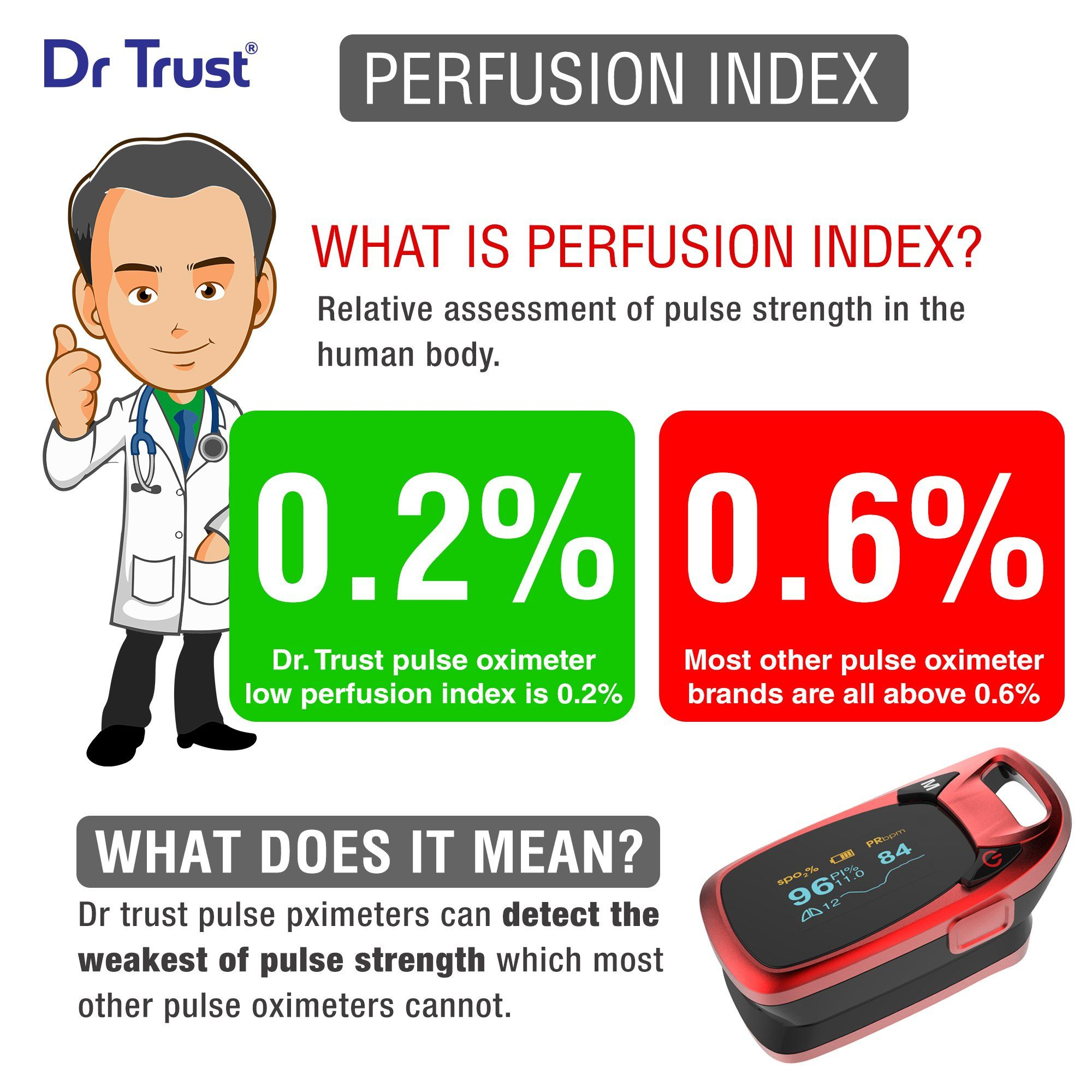 Dr Trust USA Professional Series Finger Tip Pulse Oximeter (Red) 203