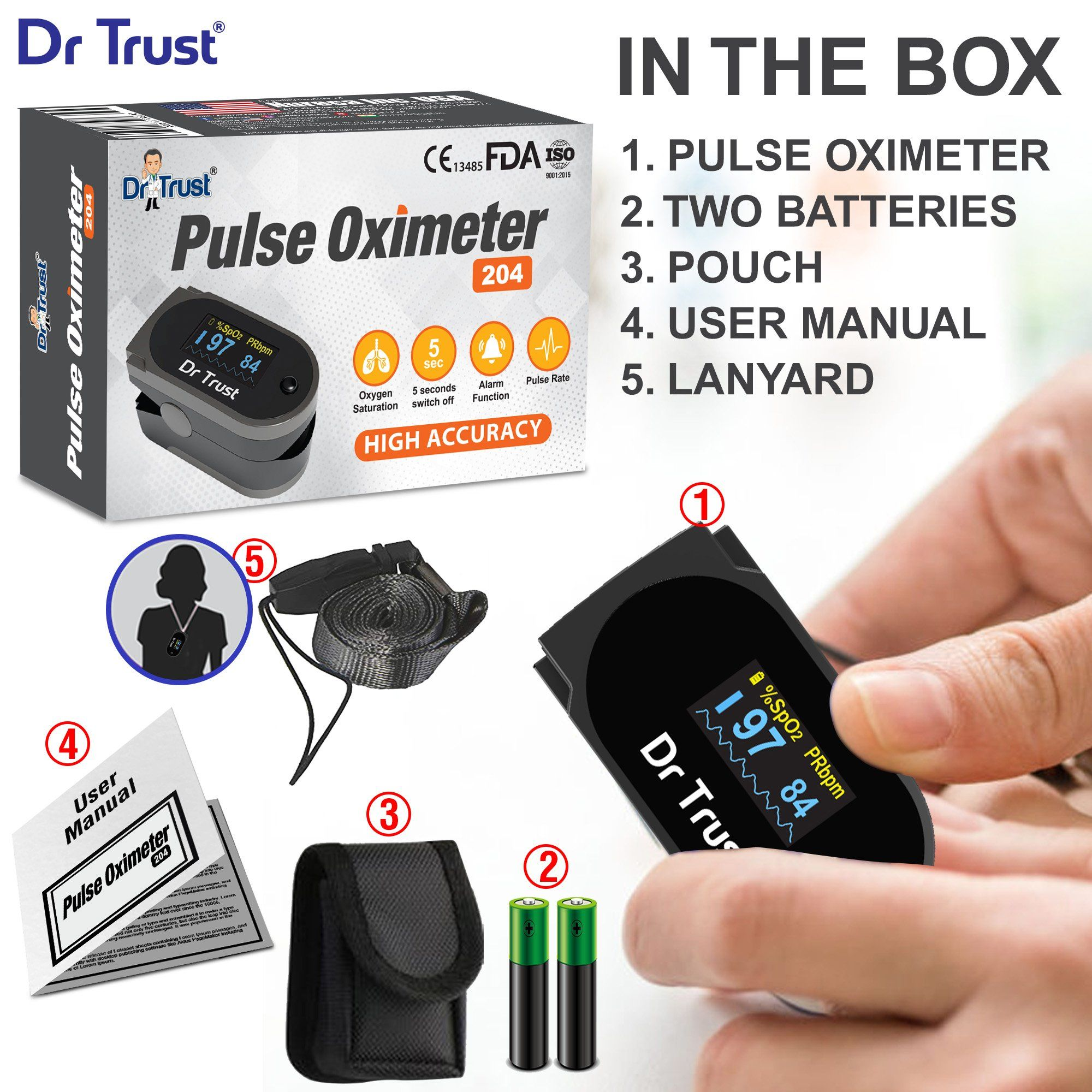 Dr Trust USA Pulse Oximeter Pulse Rate Monitor 204