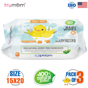 Trumom Hypoallergenic 100% Natural Vitamin E Baby Wipes, White, 80 Wipes - trumom