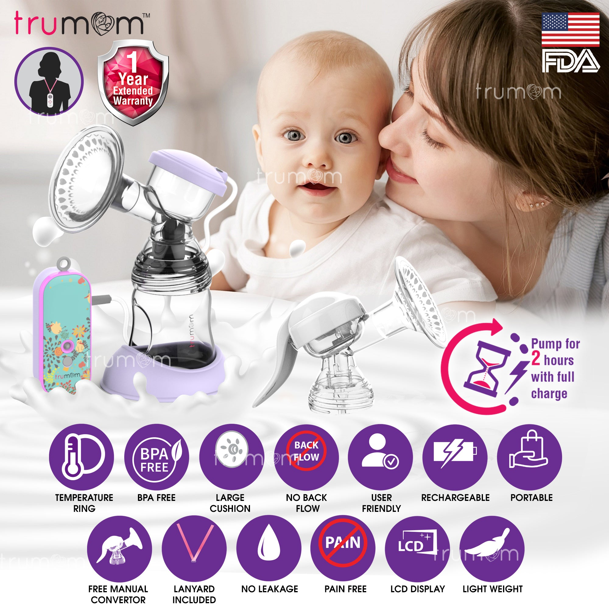 Trumom (USA) Lavender Rechargeable Electric Breast Milk Feeding Pump with Manual Convertor Kit & Temperature Indicator Ring - trumom