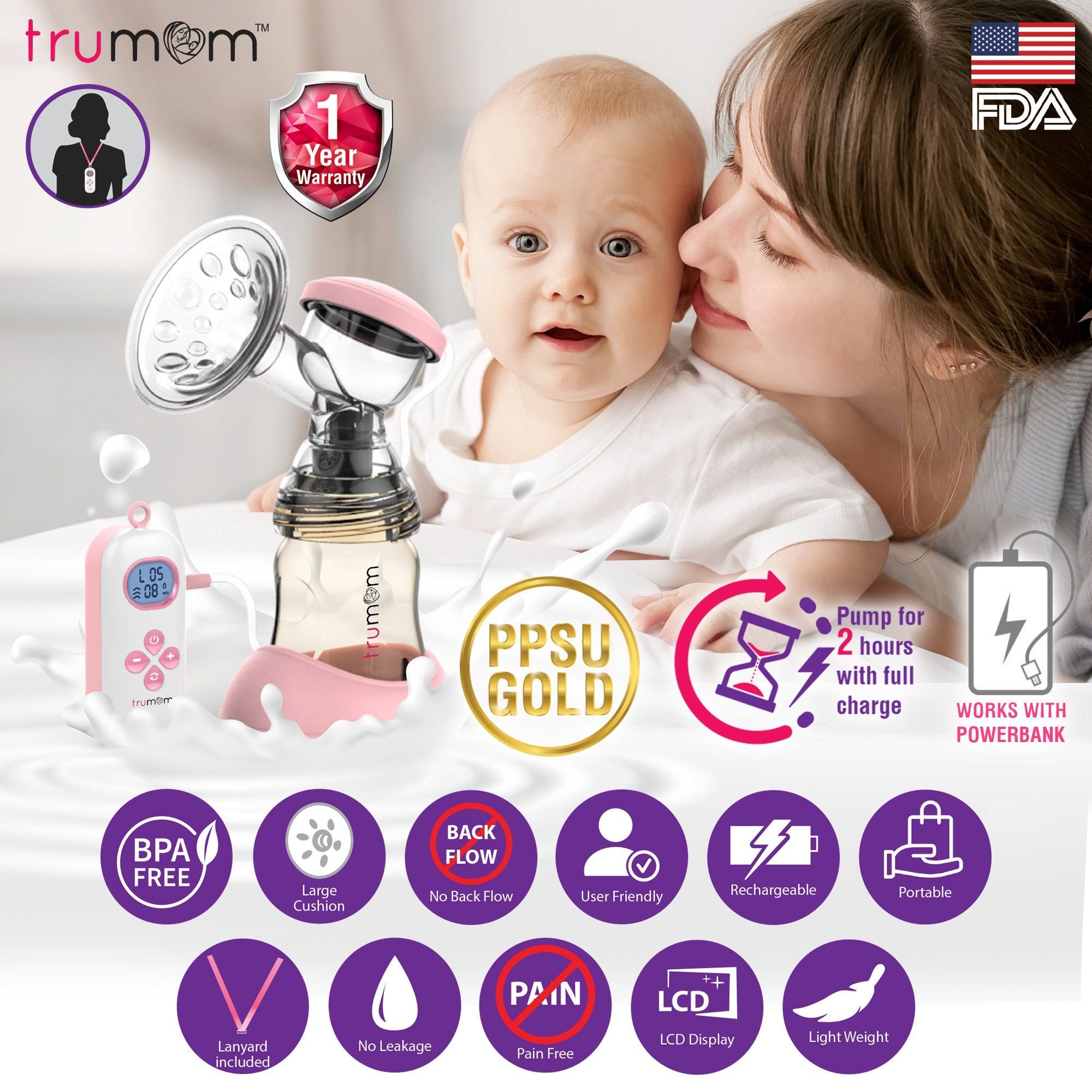 TRUMOM (USA) Electric Breast Pump Recharge PPSU Gold - trumom