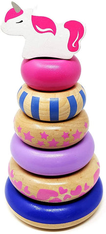 Wooden Stacking Rings Toy with Unicorn Topper