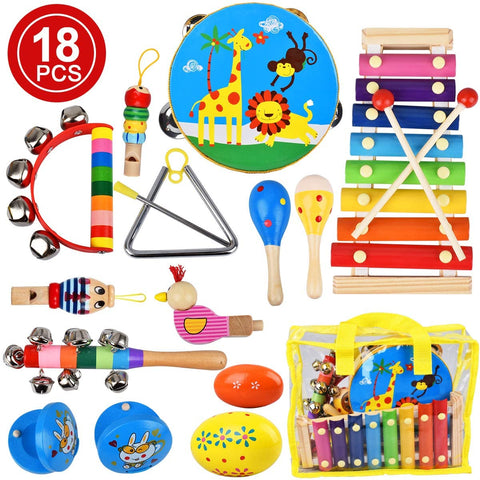 Villana Musical Instruments Toys for Toddler, 18Pcs Kids Musical Wooden Percussion Instruments with Storage Bag, Tambourine, Xylophone, Maracas, Castanets Preschool Educational Learning Toys for Kids