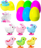 6 Easter Eggs with 6 Wind-Up Cute Colorful Bunnies and Chicken Toys