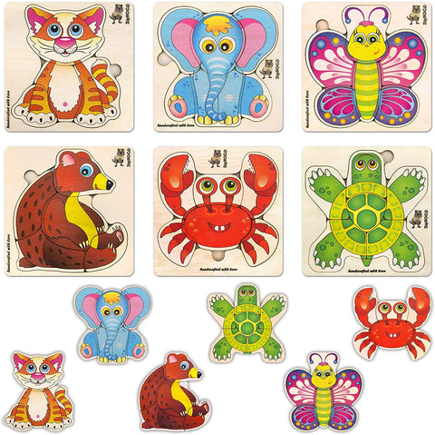 Quokka Wooden Jigsaw Puzzles for Toddlers 1 2 3 Year Olds - 6 Pack Puzzles - Kids and Children's Game for Learning Shapes Animals, Educational Wood Preschool Toys for Boys and Girls Ages 1-3