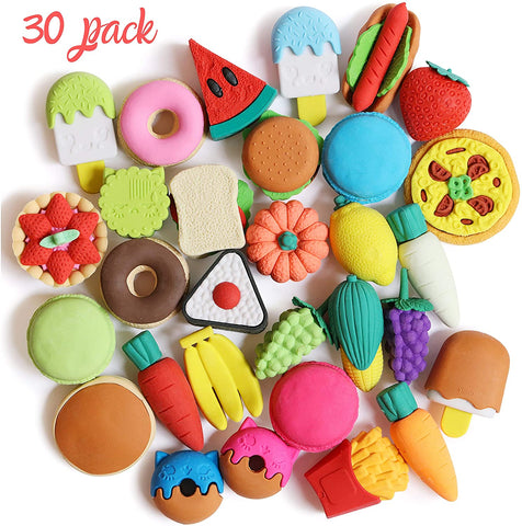Mr. Pen- Food Erasers, Erasers, 30 Pack, Puzzle Erasers, Take Apart Erasers, Fruit Erasers, Pull Apart Erasers, Erasers for Kids, Fun Erasers, Gifts for Kids, Prizes for Kids Classroom, Pencil Erasers