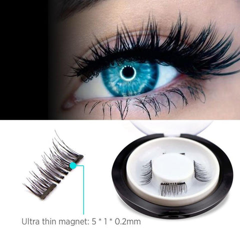 3D Double Magnetic Eyelashes on magnets Natural Glueless