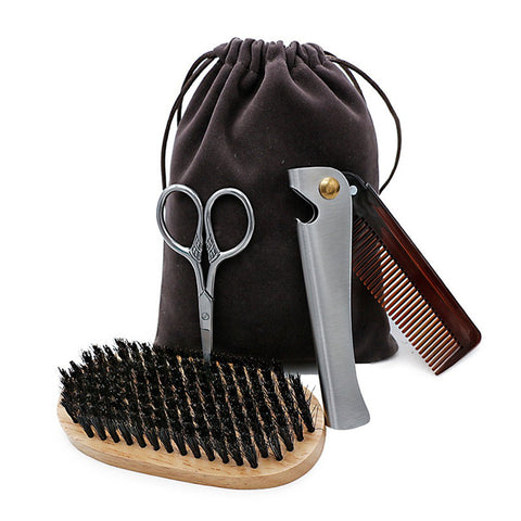 Beard Care Set: Scissors + Elliptical Comb + Stainless Steel Beard Comb + Bag