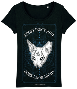 'Adopt Don't Shop' Women's Fit T-Shirt (Blue Details)