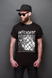 'Until Every Cage Is Empty' Organic Black Vegan T-Shirt