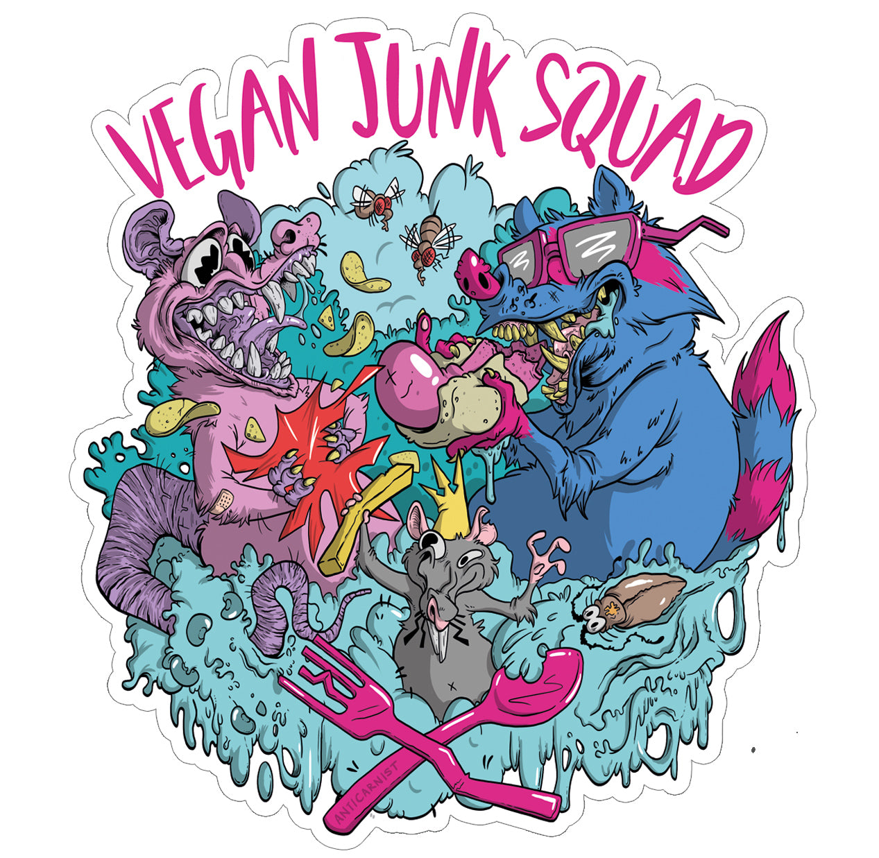 'Vegan Junk Squad' Vinyl Sticker