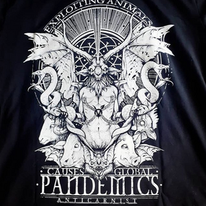 'Exploiting Animals Causes Pandemics' Organic Black Vegan T-Shirt