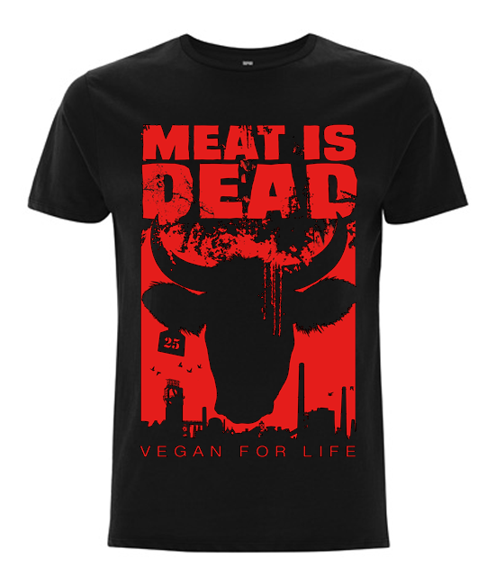 'Meat Is Dead' Organic Black Vegan T-Shirt