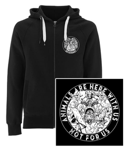 NEW 'Here With Us' Black Vegan Zip-up Hoodie