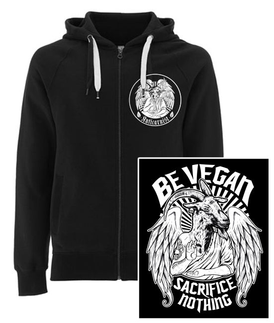 'Sacrifice Nothing' Black Vegan Zip-up Hoodie