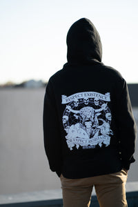 'Respect Existence or Expect Resistance' Black Vegan Zip-up Hoodie