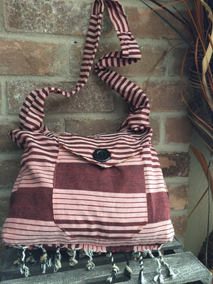 Beige Stripe Sling Bag