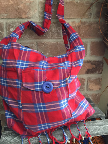 Red and Blue Stripe Sling Bag