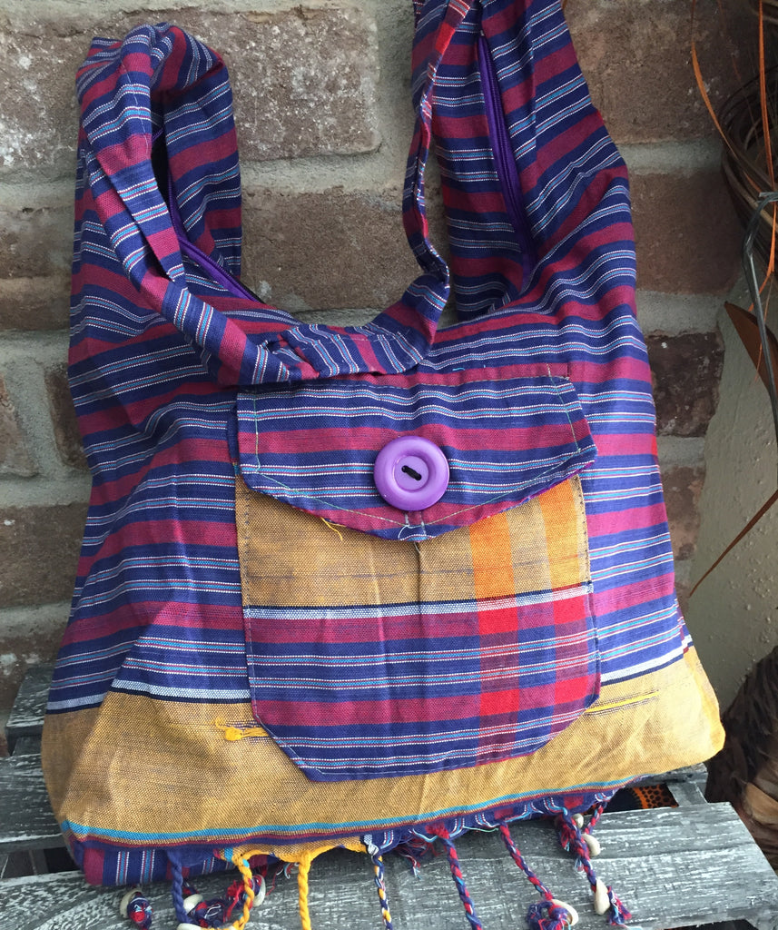 Purple Stripe Sling Bag