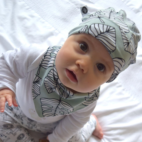 Dribble Bib & Hat - Green Leaves | KJF Clothing