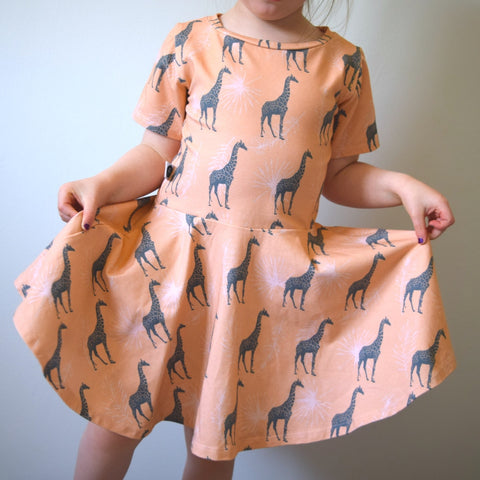 T-Shirt Dress - Blush Giraffes