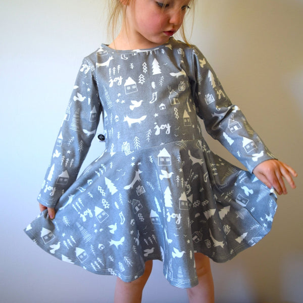 T-Shirt Dress - Winter Woodland 1 | KJF Clothing