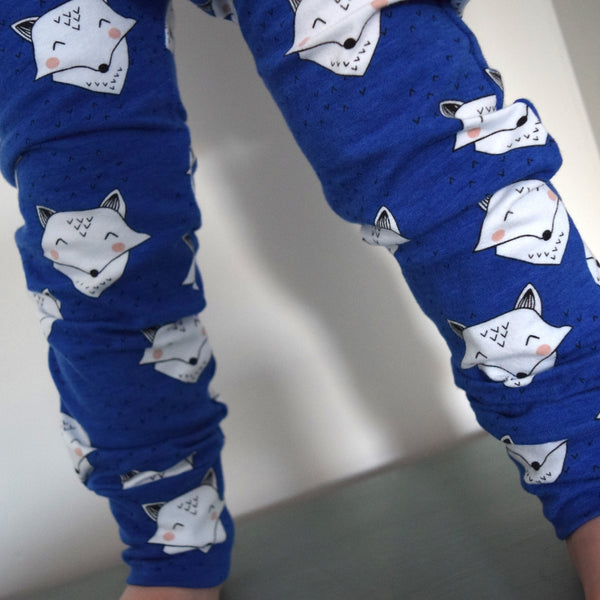 Leggings - Cobalt Blue Foxes 4 | KJF Clothing