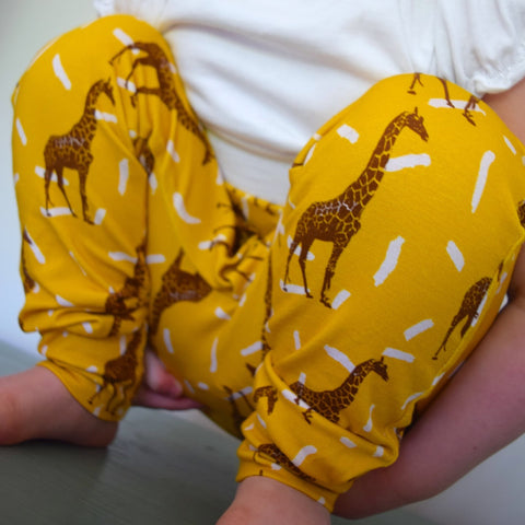 Leggings - Mustard Giraffes 1 | KJF Clothing