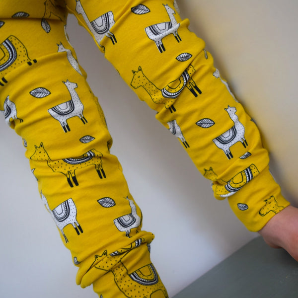 Leggings - Mustard Llamas 2 | KJF Clothing