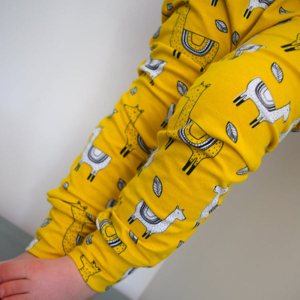 Leggings - Mustard Llamas 3 | KJF Clothing