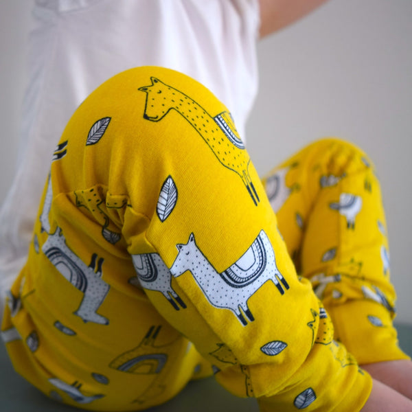 Leggings - Mustard Llamas 5 | KJF Clothing