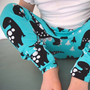 Leggings - Turquoise Dinosaurs 1 | KJF Clothing
