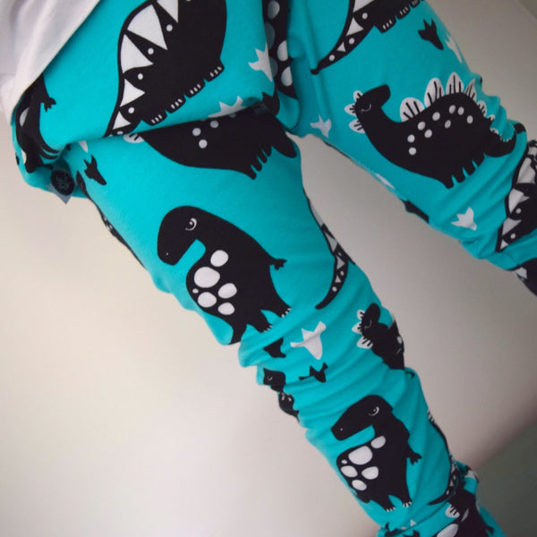Leggings - Turquoise Dinosaurs 3 | KJF Clothing