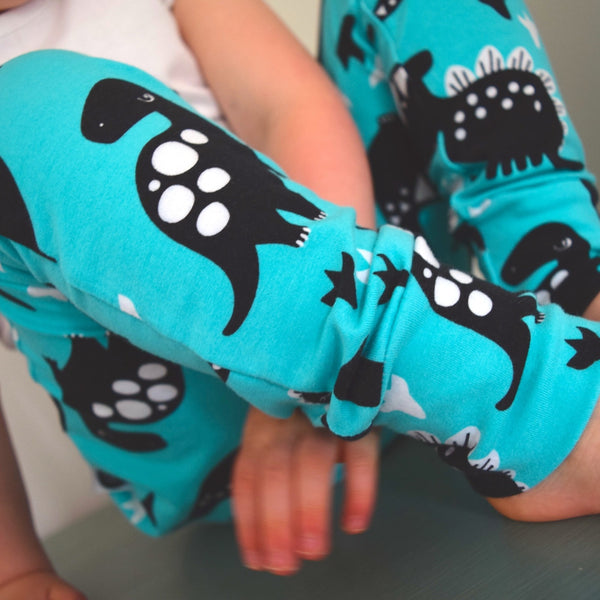 Leggings - Turquoise Dinosaurs 6 | KJF Clothing