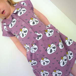 Collar Dress - Lavender Pandas 1 | KJF Clothing